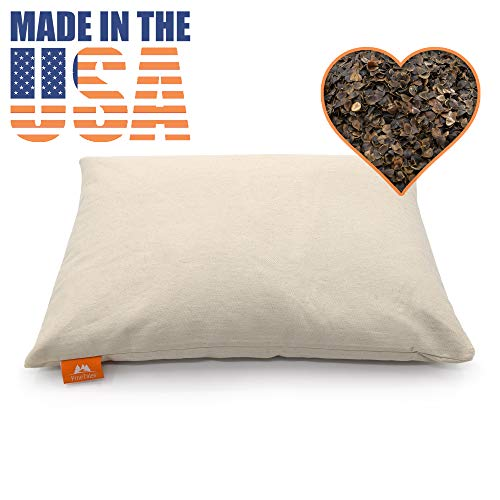 """PineTales, Basic Organic Buckwheat Pillow with Unbleached Durable Cotton Twill Case, Japanese Size (14"""" x 20"""")"""