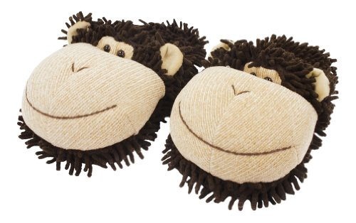 Aroma Home Kids Fuzzy Friends Monkey Slipper, Small, Brown