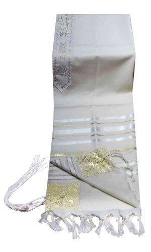 100% Wool Tallit Prayer Shawl in White and Gold Stripes Size 24'' L X 72'' W