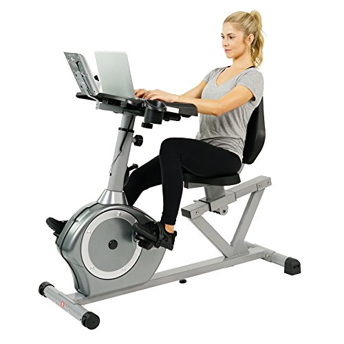 Sunny Health Fitness Magnetic Recumbent Desk Exercise Bike, 350lb High Weight Capacity, Monitor – SF-RBD4703