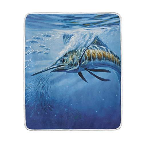CHLBOJ Atlantic Blue Marlin Plush Throws Siesta Camping Travel Fleece Blankets Lightweight Bed SOFE Size 50x60inches -