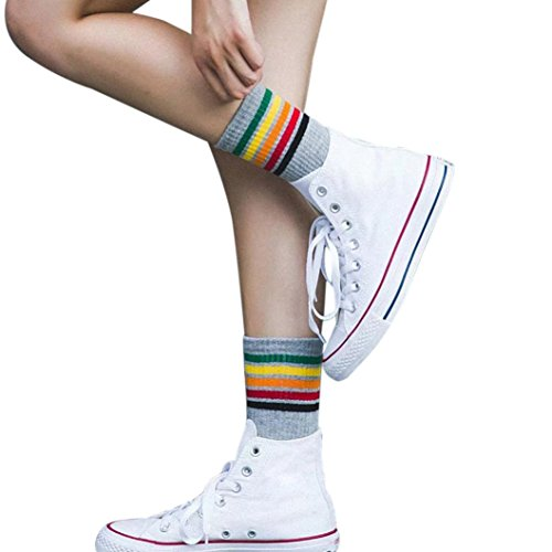 ow stripes Socks Ladies Girls Cotton Warm Soft Sox (Gray) (Rainbow Ankle Sock)
