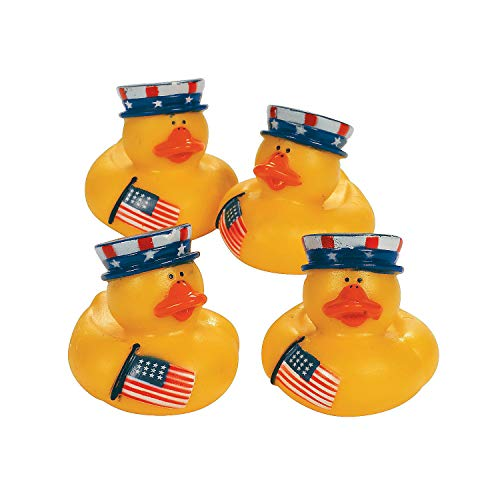(Fun Express - Patriotic Rubber Ducky for Fourth of July - Toys - Character Toys - Rubber Duckies - Fourth of July - 12 Pieces)