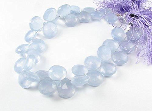 Lavender Purple Chalcedony Faceted Heart Flat Teardrop Gemstone Briolette Drops 10mm - 11mm (6 gems beads) (Gemstone Briolette Teardrop)