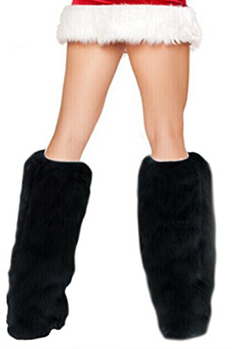 Linsery Women's Black Fall Soft Plush Furry Boot