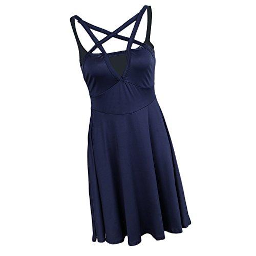 Noche Figura Elegante Hermosa Hasta Fiesta Baoblaze Mujer Ropa Jovencita Vestido Regalo Azul Rodilla wXxXq1Z