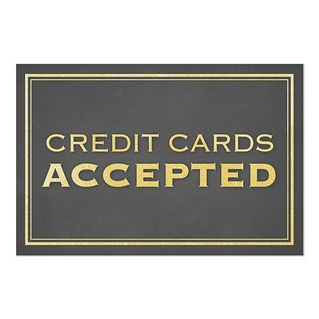 We Accept Credit 5-Pack Victorian Card Window Cling 12x12 CGSignLab