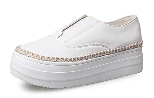 Aisun Donna Casual Antiscivolo Punta Tonda Low Top Mocassini Con Suola Pesante Slip On Platform Sneakers Skateboard Shoes White
