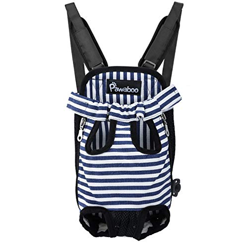 PAWABOO Pet Carrier Backpack, Adjustable Pet Front Cat Dog Carrier Backpack Travel Bag, Legs Out, Easy-Fit Traveling Hiking Camping, Extra Large Size, Blue White Stripes