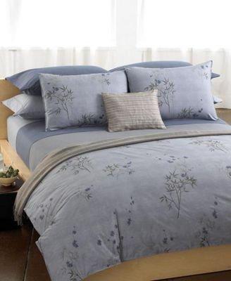Calvin Klein Bedding, Bamboo Flowers Rhythmic Stripe Full Fitted Sheet (Calvin Klein Purple Stripe)
