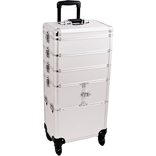 SUNRISE Makeup Rolling Case 4 in 1 Professional Organizer I3364 Aluminum, 3 Stackable Trays and Two 3 Tier Trays, 4 Wheel Spinner, Silver Dot by SunRise