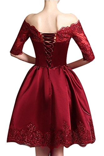 Kurzarm Schulterfrei Jugendweihe Cocktailkleider Lila mia Abendkleider Festlichkleider Satin La Braut Mini Kleider mit PUSqnfT