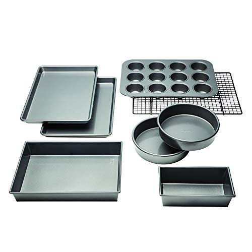 - Chicago Metallic 5229030 Professional Non-Stick 8-Piece Bakeware Set, Silver