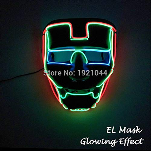 TZFLEDMAS Glowing Party Mask LED Light Up Mask for Halloween Scary Party Cosplay Style 10 ()