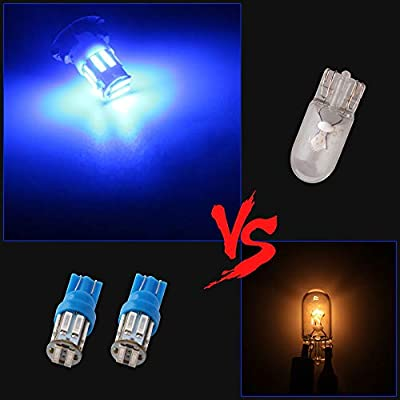Grandview 350 Lumens Blue T10 194 168 921 W5W 7014 10-SMD LED Interior Lights Bulb Car Replacement Lights Truck License Plate Front Rear Sidemarker Light Dome Map LED Bulbs 12V DC 10-Pack: Automotive