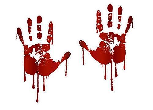 LIFE SIZE Bloody Hand Print Decals Walking Dead Zombie Halloween Prop Stickers (Both Hands)