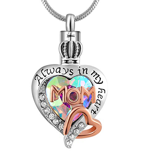 Eternaloved Womens and Girls Memorial Dad/Mom Glass Crystal Ash Urn Cremation Pendant,Always in My Heart Necklace (Mom)