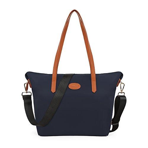 ECOSUSI Women's Nylon Tote Waterproof Crossbody Bags with Black Adjustable Strap