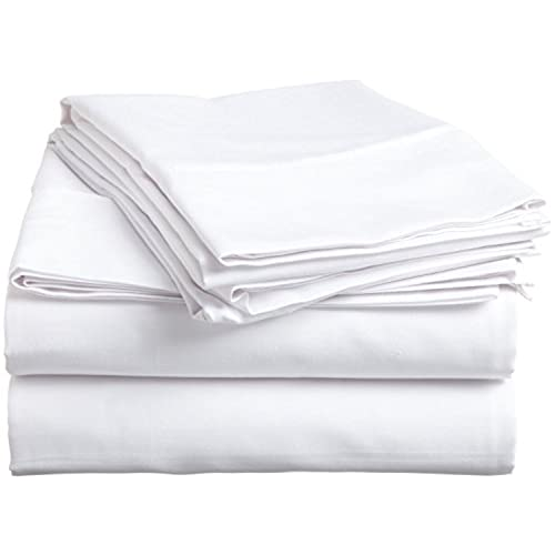 Attractive Nile Bedding Collection Luxury Hotel Bed Sheets Egyptian Cotton 600 TC 4PCs  Sheet Set 15 Inches Deep Pocket White Solid Queen Size (1 Fitted Sheet,1  Flat ...