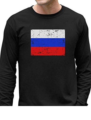Tstars TeeStars - Vintage Russia Flag Retro Russian Style Long Sleeve T-Shirt Large Black Russia Flag T-shirt