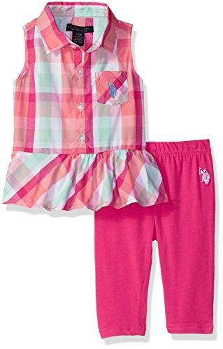 (U.S. Polo Assn. Baby Girls Fashion Top Set, Peplum Plaid Tank Knit Capri Legging Fuchsia 18M)