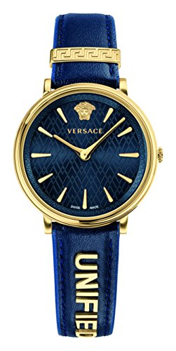 Versace Women's Manifesto Edition Swiss-Quartz Watch with Leather Calfskin Strap, Blue, 11 (Model: VBP030017)