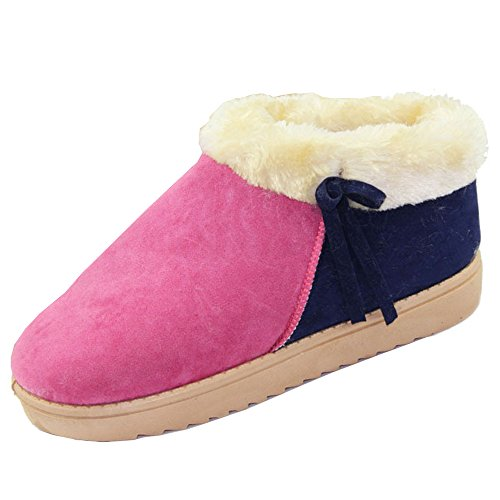 Cylinder Snow Pair Suede Rose color Boots 8 Girls Multi Wotefusi Short Short Thicken Warm US Red Shoes Fleece Winter Autumn Size New Ladies Snowy tube Women a6xqxzS