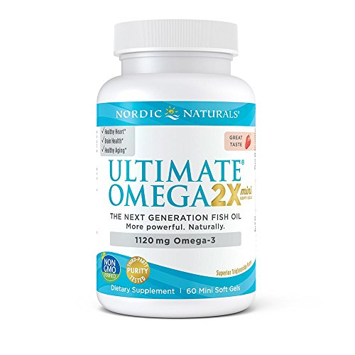 Earth Ultra Omega 3 (Nordic Ultimate Omega 2X Mini - Nordic Naturals Omega-3 Supplement Supports Heart, Brain, and Immune Health, Strawberry Flavor, 60 Soft Gels)
