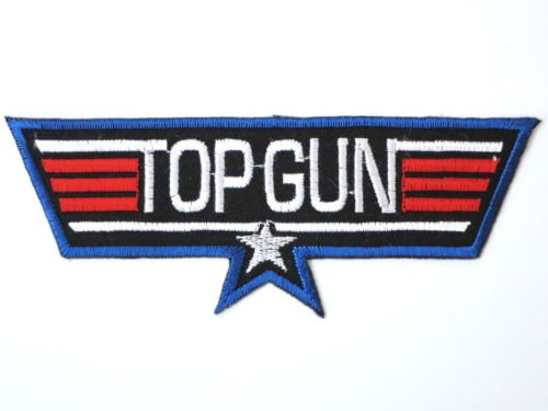 Top Gun Jacket Patches (TOP GUN Navy Fighter Pilot Military Fancy Dress Iron On Patch 4.9