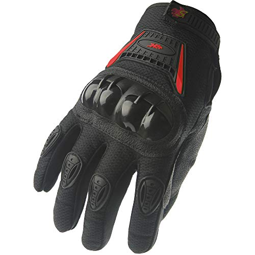 Gloves Street Racing Motorcycle - Street Bike Full Finger Motorcycle Racing Gloves 09 (Large, black/red)