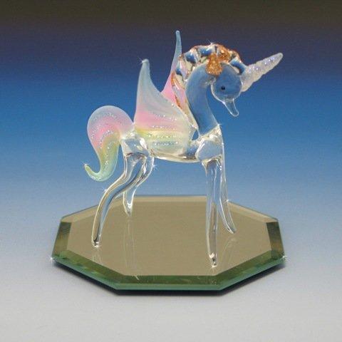 Miniature Collectible Pegasus Unicorn Crystal Glass Figurine Rainbow Glitter Frosted NIB Pegacorn