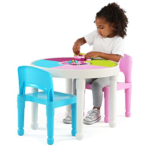 41%2BoVGNd56L - Tot Tutors Kids 2-in-1 Plastic LEGO-Compatible Activity Table and 2 Chairs Set, Bright Colors