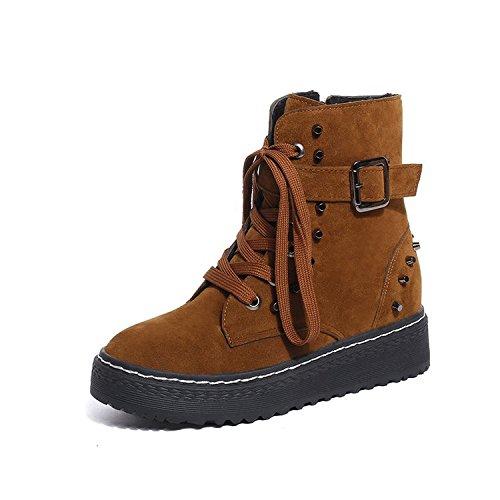 KPHY-Los Zapatos Nuevos Y El Invierno Shox Ups De Ocio De Moda Ladies' Short Tube Marea Light Brown Treinta Y Nueve Thirty-six