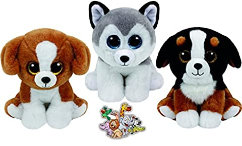 Ty Beanie Babies Brown Snicky, Grey Husky Buff, and Black Roscoe 3 Dogs Gift set Plush Toys 6-8 inches tall with Bonus Animals (Ty Stuffed Husky)