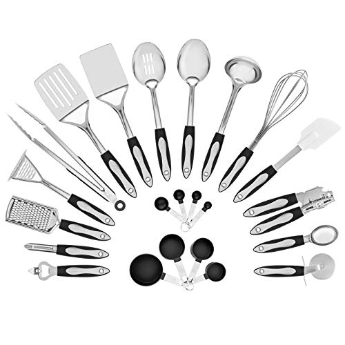 LamoreStore 23-Piece Stainless Steel Cooking Utensils Set Measuring Cups,Spoons Slotted Spatula, Serving Slotted Serving Spoon, Ladle, Whisk, Thermoplastic Rubber Can Opener Potato -