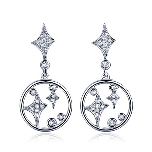 Carleen 14k Solid White Gold Diamond Round Open Circle Dangle Drop Stud Earrings For Women Girls (0.15cttw, I-J Color, SI2 Clarity)