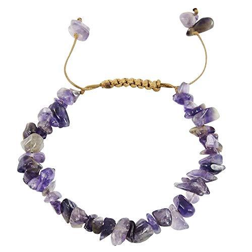 - Turquoise Network Gemstone Bracelet Adjustable Size Bolo Clasp (Choose Color) (Amethyst)