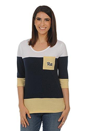 UG Apparel NCAA Pittsburgh Panthers Adult Women Colorblock Top, Medium, Navy/Light Gold