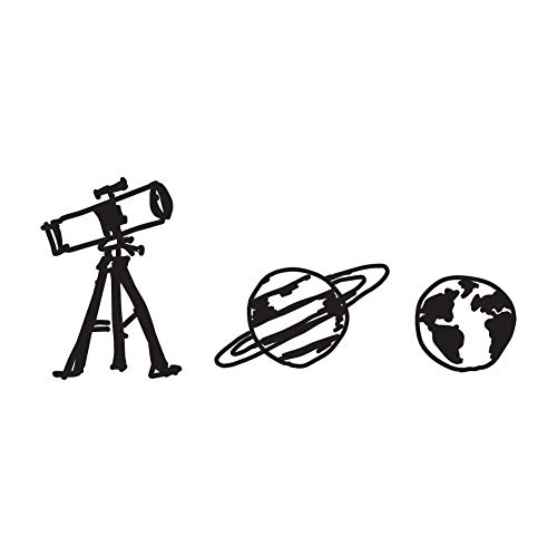 Astronomy Sticker - Cute Cartoon Astronomy/Planet/Telescope Art - Black Vinyl Decal for 13