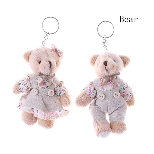 Best Quality - Plush Keychains - Pair Couple Bear Rabbit Plush Keychain Floral Cloth Teddy Bear Rabbit Bunny Dolls Key Bag Pendants Lovers Friends Gift 11cm - by NEWSTARWAR - 1 PCs from NEWSTARWAR