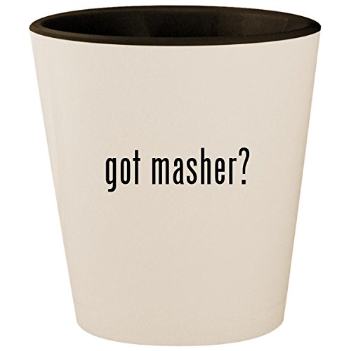 Egg Mashy Masher (got masher? - White Outer & Black Inner Ceramic 1.5oz Shot Glass)