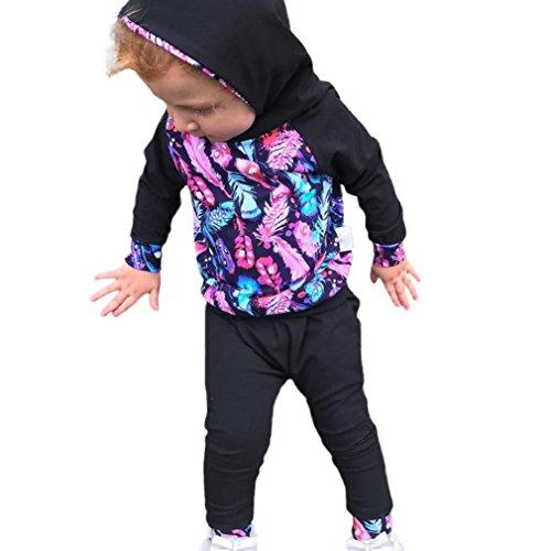 Langarmshirts Longra Baby Babykleidung 18Monate Mädchen Black Hosen Kapuzenpullover Feder 0 Kleidung Babymode Set Neugeboren Junge Outfit xwgFYE5gq
