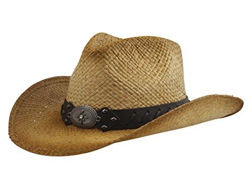 (Henschel Men's Laced Trim Band Raffia Straw Western Hat Sz: XL)