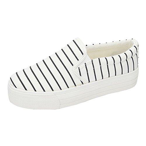 iMaySon(TM) Women's Summer Strips Canvas Solid Flat Vintage Shoes Sports Running Sneaker(36 M EU/6 B(M) US, White)