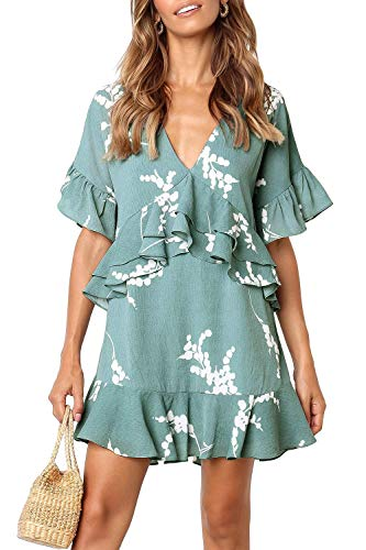 - MITILLY Women's V Neck Ruffle Floral Print Loose Swing Casual T-Shirt Dress with Pockets X-Large Light Green