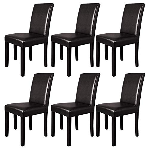 Furgle Dining Chairs Set of 6, Oak Wood Dining Room Side Chair with Upholstered Back and Seat Covered PU Leather, Brown