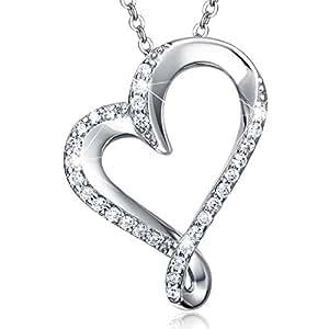 925 Sterling Silver Infinity Heart Necklace Billie Bijoux Endlessness Love Platinum Plated Diamond Pendant Women