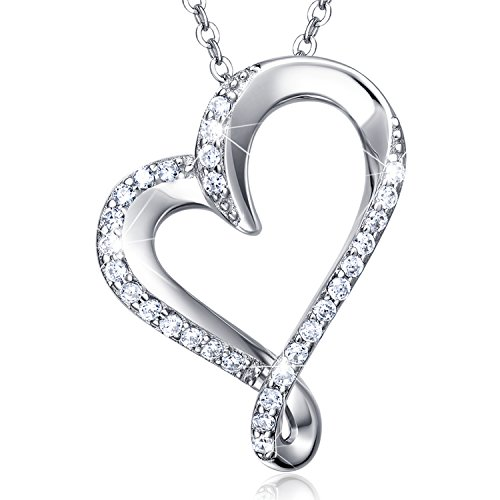 925 Sterling Silver Infinity Heart Necklace Billie Bijoux Endlessness Love Platinum Plated Diamond Pendant Women