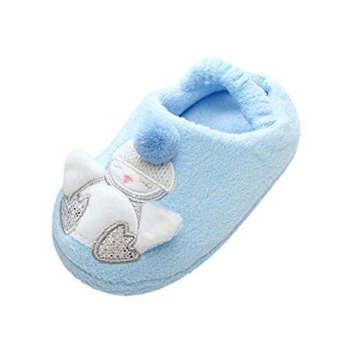 BZLine Baby Cartoon Schuhe Weiche Sohle Prewalker Warme Stiefel Hausschuhe Blau