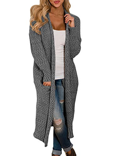 HOTAPEI Womens Cardigans Fall Winter Pockets Cable Knit Long Sleeve Loose Oversized Open Front Long Cardigan Sweaters Juniors Sweater Coats Grey XL